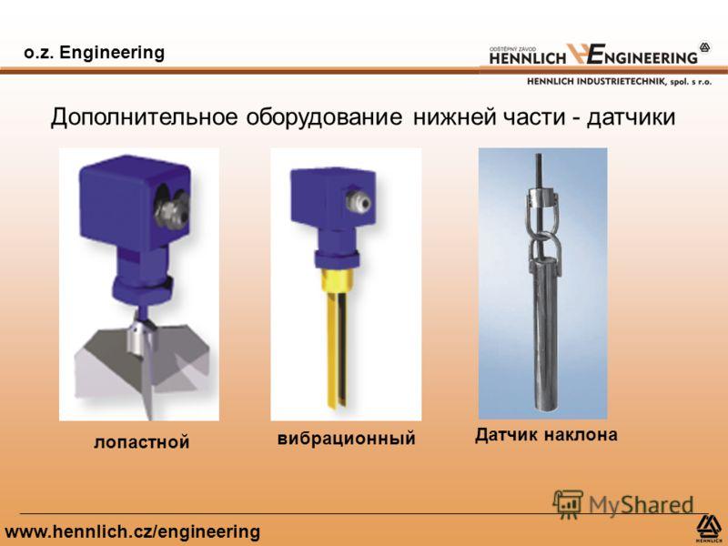 o.z. Engineering www.hennlich.cz/engineering Дополнительное оборудование нижней части - датчики лопастной вибрационный Датчик наклона