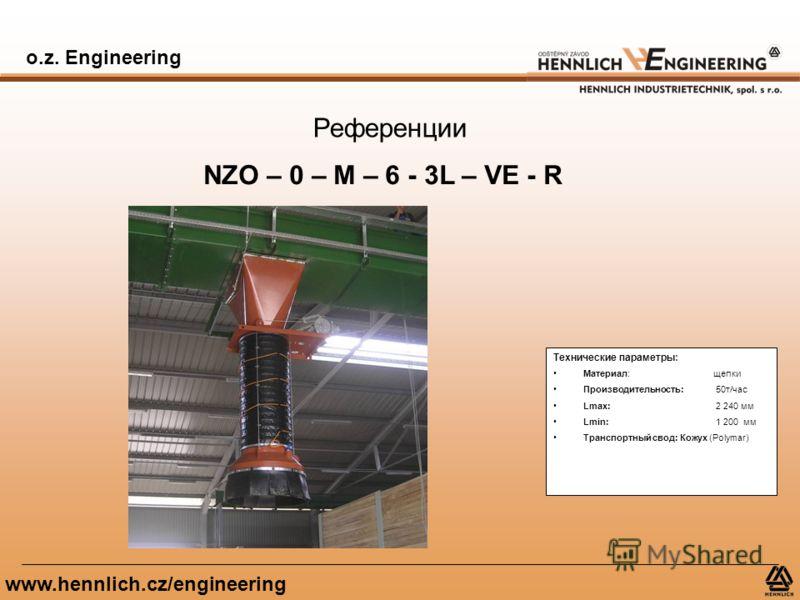 o.z. Engineering www.hennlich.cz/engineering Референции NZO – 0 – M – 6 - 3L – VE - R Технические параметры: Материал: щепки Производительность: 50т/час Lmax: 2 240 мм Lmin: 1 200 мм Транспортный свод: Кожух (Polymar)