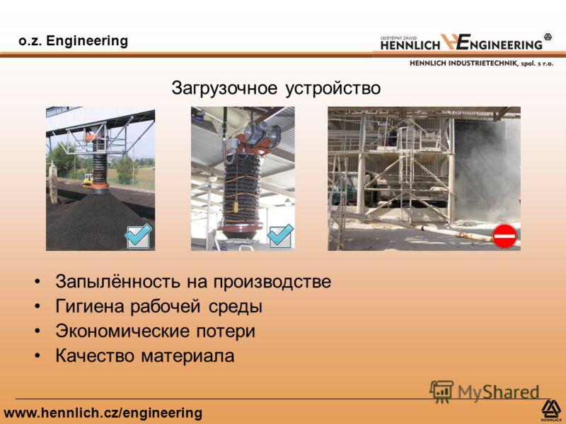 o.z. Engineering www.hennlich.cz/engineering Загрузочное устройство Запылённость на производстве Гигиена рабочей среды Экономические потери Качество материала