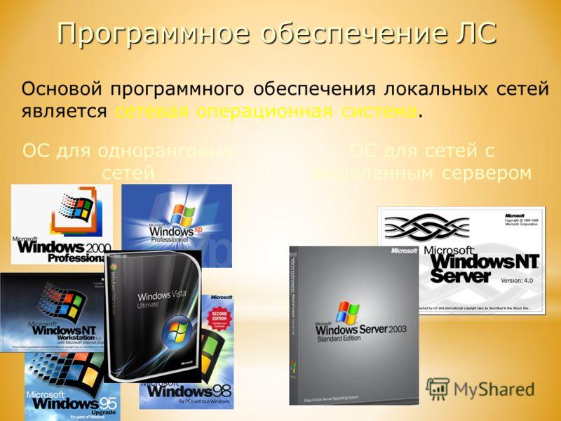 Программное обеспечение ЛС Основой программного обеспечения локальных сетей является сетевая операционная система. ОС для одноранговых сетей ОС для сетей с выделенным сервером