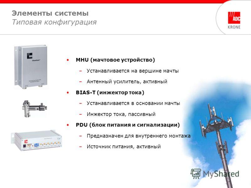 5 Элементы системы Типовая конфигурация MHU (мачтовое устройство) –Устанавливается на вершине мачты –Антенный усилитель, активный BIAS-T (инжектор тока) –Устанавливается в основании мачты –Инжектор тока, пассивный PDU (блок питания и сигнализации) –П