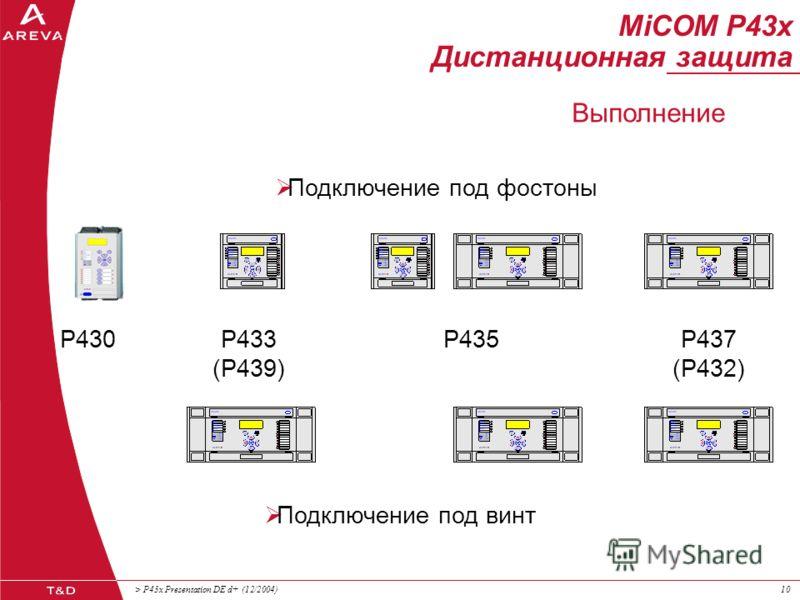 > P43x Presentation DE d+ (12/2004)99 MiCOM P43x Дистанционная защита Дискретные и аналоговые входа и выхода Измерительные входа фазные токи333333 ток в нулевом проводе111221 напряжение34...5 4(...5) Дискретные входа и выхода оптроны(при заказе)24...