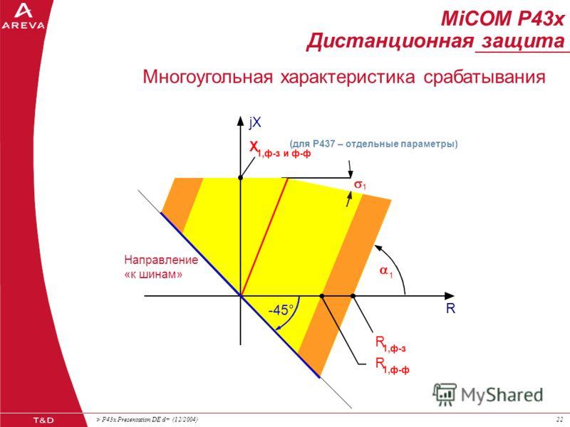 > P43x Presentation DE d+ (12/2004)21 MiCOM P43x Дистанционная защита >1,5 x 3U 0 (раб.режим) = 0,5 x I (1) кз мин > 1,2 x 3I 0 нагр. Пусковые характеристики 3U0> или 3I0>