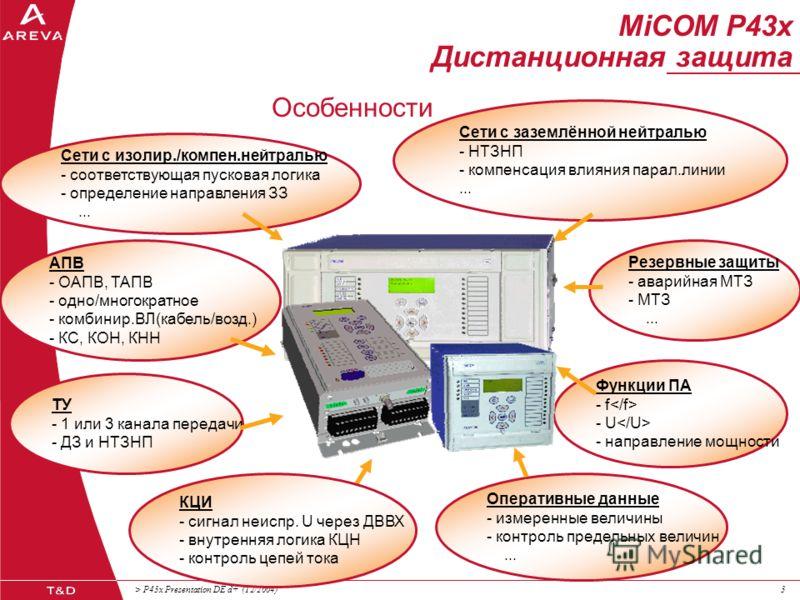 MiCOM P43x Дистанционная защита Automation & Information Systems Март 2006