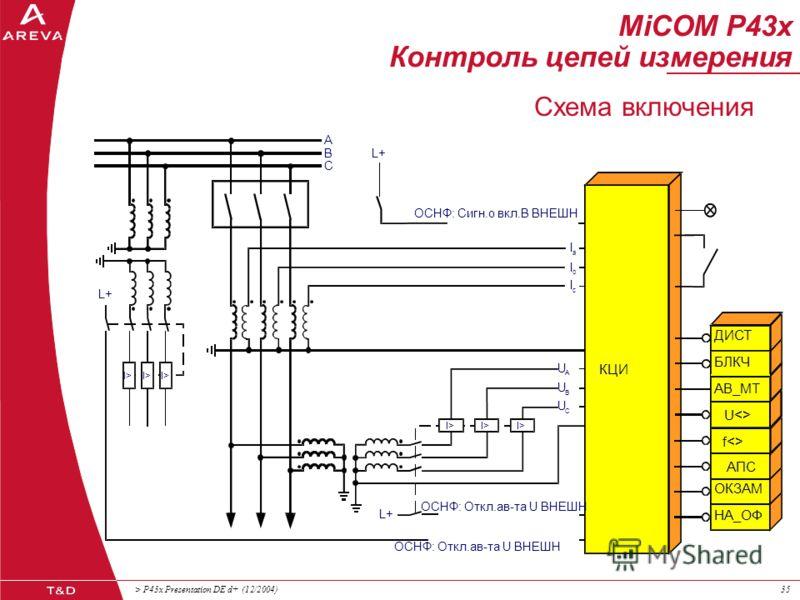 > P43x Presentation DE d+ (12/2004)34 Контроль исправности цепей напряжения: оптрон, фиксирующий отключение автомата цепей ТН контроль предохранителей в цепях напряжения 1-, 2- или 3-фазный обрыв цепей напряжения контроль предохранителей в цепях опор