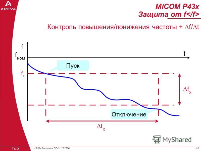 > P43x Presentation DE d+ (12/2004)83 MiCOM P43x Защита от f Контроль повышения/понижения частоты + df/dt f f x f ном t t x df x /dt Отключение Пуск
