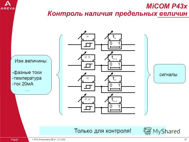 > P43x Presentation DE d+ (12/2004)87 ПРЕД Контроль наличия предельных величин MiCOM P43x Контроль наличия предельных величин Отдельные функции