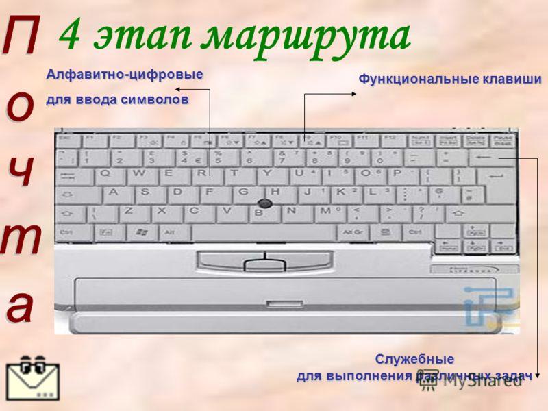 4 этап маршрутаСлужебные для выполнения различных задач Алфавитно-цифровые для ввода символов Функциональные клавиши