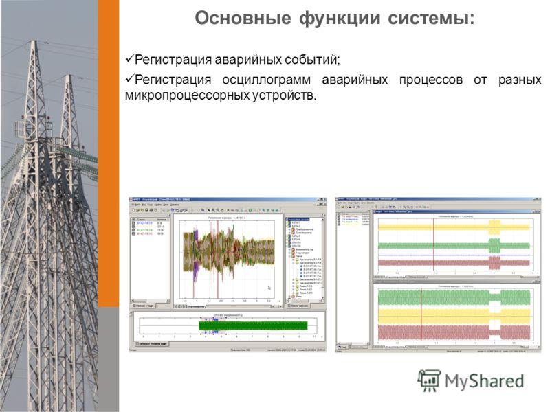 Регистрация аварийных событий; Регистрация осциллограмм аварийных процессов от разных микропроцессорных устройств. Основные функции системы: