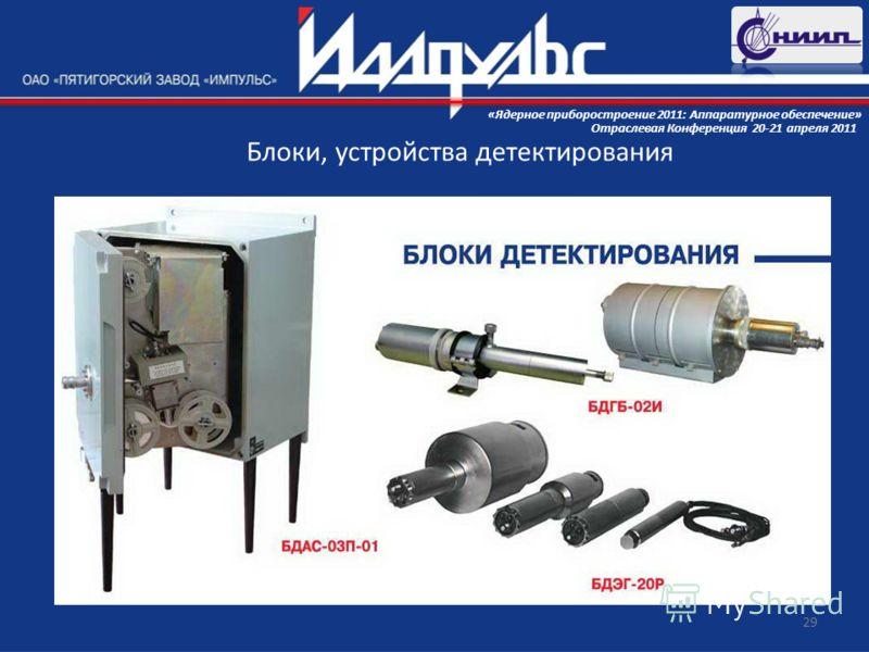 29 Блоки, устройства детектирования Отраслевая Конференция 20-21 апреля 2011 «Ядерное приборостроение 2011: Аппаратурное обеспечение»