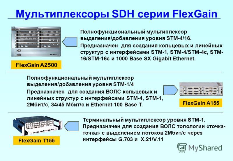 Мультиплексоры SDH серии FlexGain FlexGain A155 FlexGain T155 Полнофункциональный мультиплексор выделения/добавления уровня STM-4/16. Предназначен для создания кольцевых и линейных структур с интерфейсами STM-1, STM-4/STM-4c, STM- 16/STM-16c и 1000 B