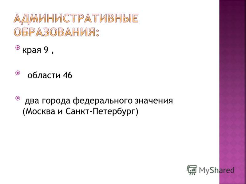 края 9, области 46 два города федерального значения (Москва и Санкт-Петербург)