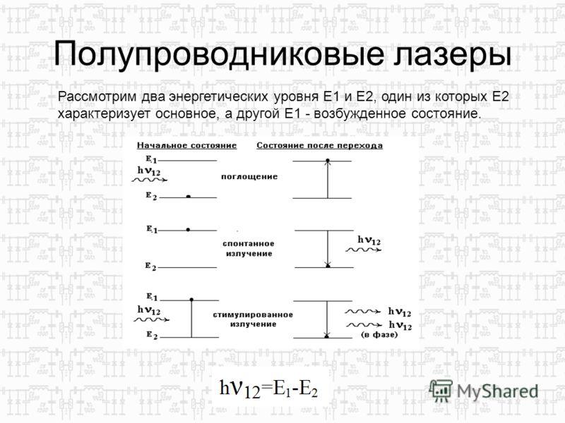 Полупроводниковые лазеры Рассмотрим два энергетических уровня E1 и Е2, один из которых E2 характеризует основное, а другой Е1 - возбужденное состояние.
