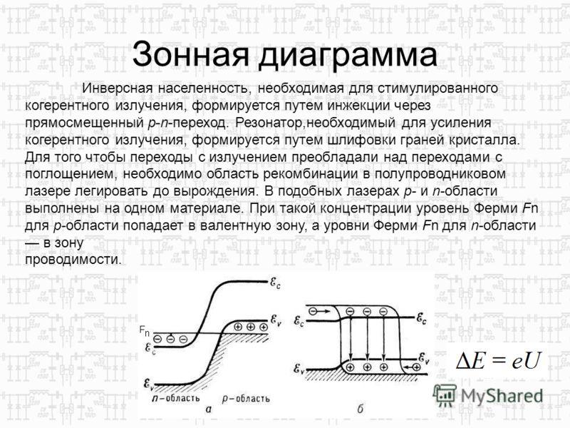 Зонная диаграмма Инверсная населенность, необходимая для стимулированного когерентного излучения, формируется путем инжекции через прямосмещенный p-n-переход. Резонатор,необходимый для усиления когерентного излучения, формируется путем шлифовки гране