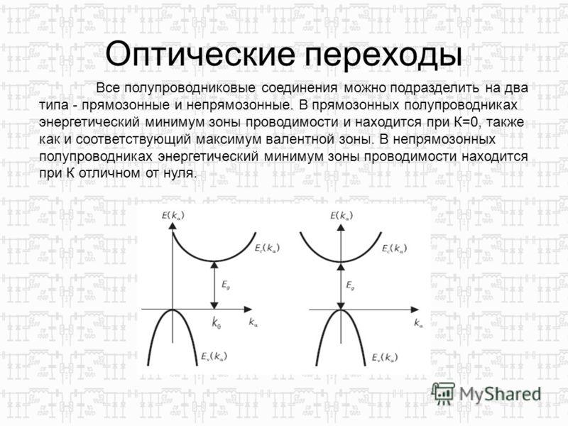 Оптические переходы Все полупроводниковые соединения можно подразделить на два типа - прямозонные и непрямозонные. В прямозонных полупроводниках энергетический минимум зоны проводимости и находится при К=0, также как и соответствующий максимум валент
