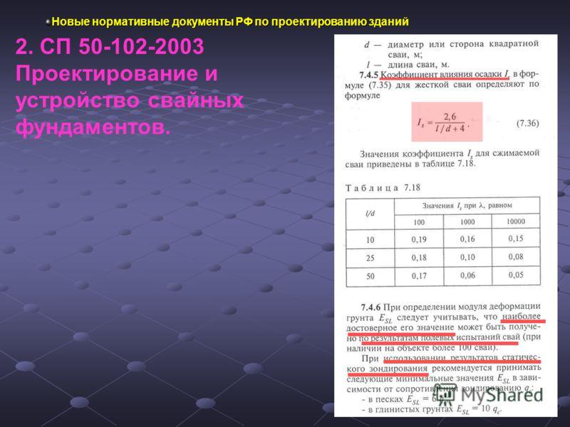 Новые нормативные документы РФ по проектированию зданий 2. СП 50-102-2003 Проектирование и устройство свайных фундаментов.