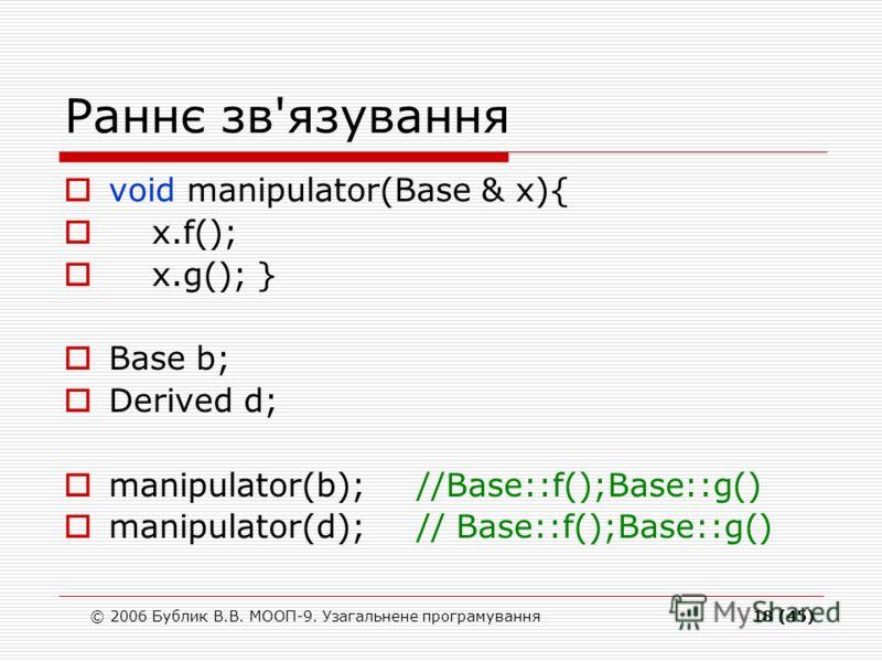 © 2006 Бублик В.В. МООП-9. Узагальнене програмування18 (45) Раннє зв'язування void manipulator(Base & x){ x.f(); x.g(); } Base b; Derived d; manipulator(b);//Base::f();Base::g() manipulator(d);// Base::f();Base::g()