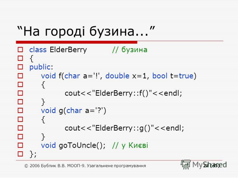 © 2006 Бублик В.В. МООП-9. Узагальнене програмування22 (45) На городі бузина... class ElderBerry// бузина { public: void f(char a='!', double x=1, bool t=true) { cout
