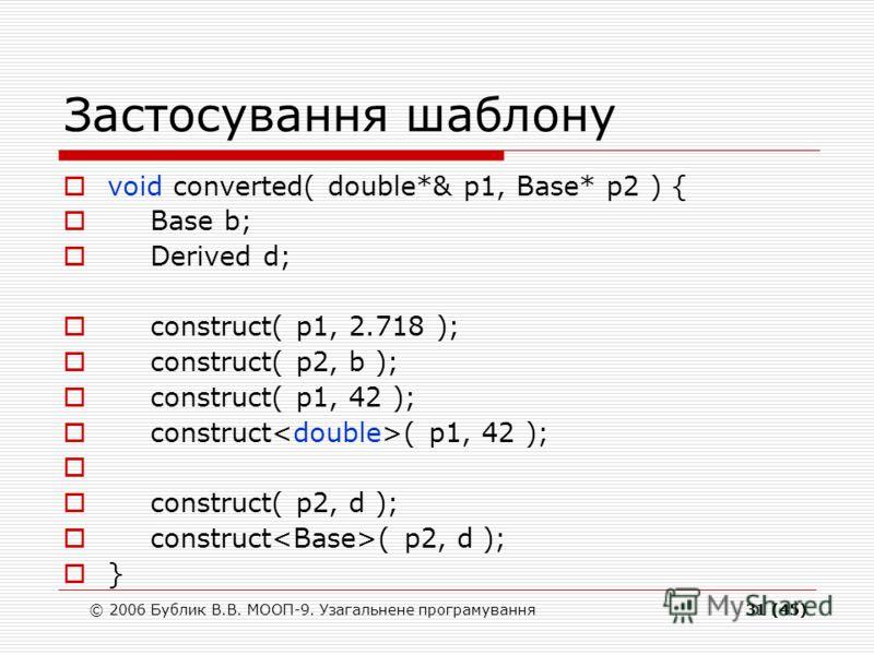 © 2006 Бублик В.В. МООП-9. Узагальнене програмування31 (45) Застосування шаблону void converted( double*& p1, Base* p2 ) { Base b; Derived d; construct( p1, 2.718 ); construct( p2, b ); construct( p1, 42 ); construct( p2, d ); }