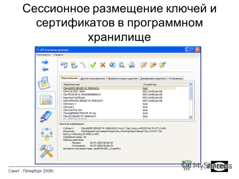 Сессионное размещение ключей и сертификатов в программном хранилище Санкт - Петербург 2006г.