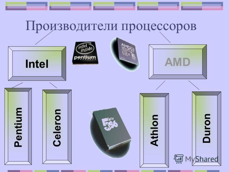 Производители процессоров Intel AMD Pentium Celeron Athlon Duron