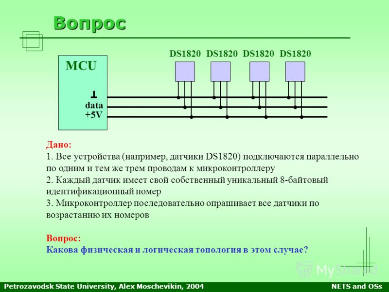 Petrozavodsk State University, Alex Moschevikin, 2004NETS and OSs Вопрос Дано: 1. Все устройства (например, датчики DS1820) подключаются параллельно по одним и тем же трем проводам к микроконтроллеру 2. Каждый датчик имеет свой собственный уникальный