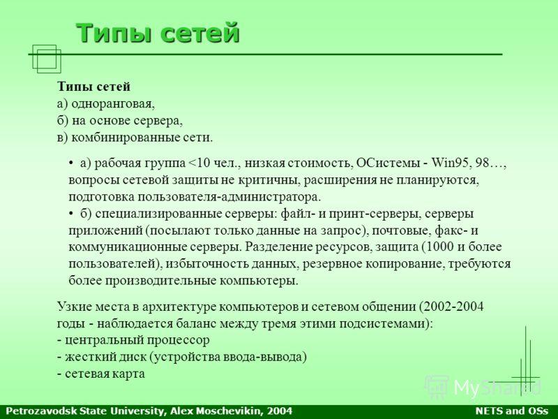 Petrozavodsk State University, Alex Moschevikin, 2004NETS and OSs Типы сетей а) одноранговая, б) на основе сервера, в) комбинированные сети. а) рабочая группа