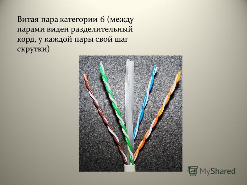 Витая пара категории 6 (между парами виден разделительный корд, у каждой пары свой шаг скрутки)