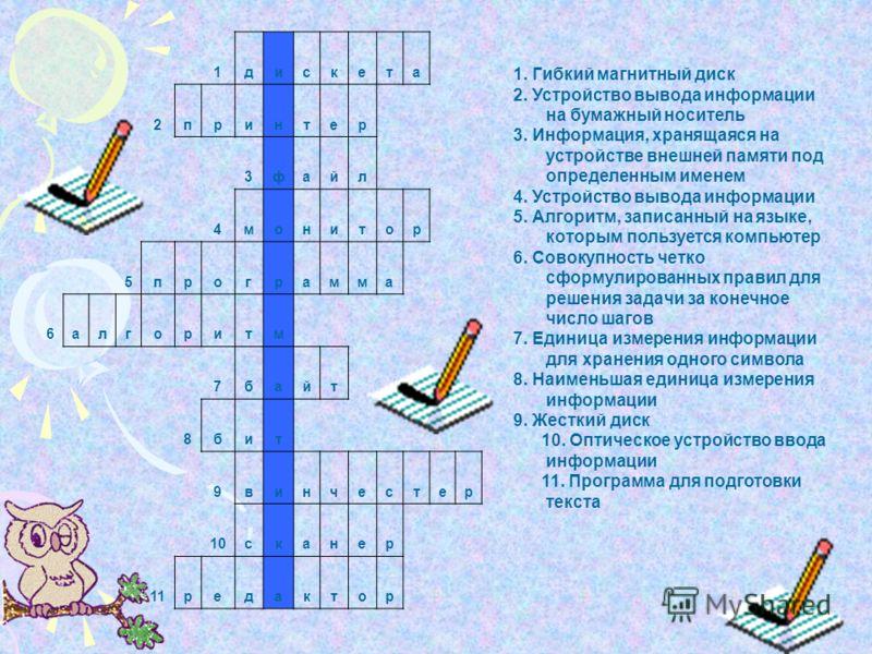 1дискета 2принтер 3файл 4монитор 5программа 6алгоритм 7байт 8бит 9винчестер 10сканер 11редактор 1. Гибкий магнитный диск 2. Устройство вывода информации на бумажный носитель 3. Информация, хранящаяся на устройстве внешней памяти под определенным имен