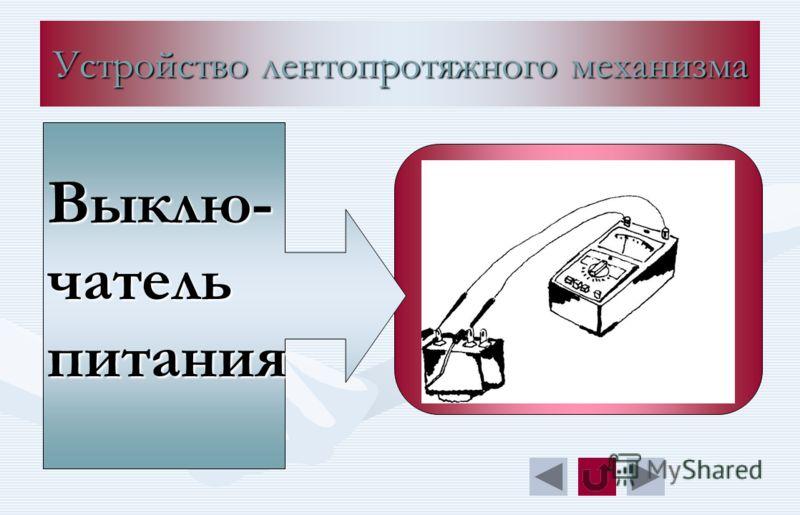Устройство лентопротяжного механизма Выклю- чатель питания