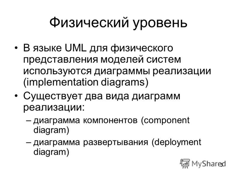 3 Физический уровень В языке UML для физического представления моделей систем используются диаграммы реализации (implementation diagrams) Существует два вида диаграмм реализации: –диаграмма компонентов (component diagram) –диаграмма развертывания (de