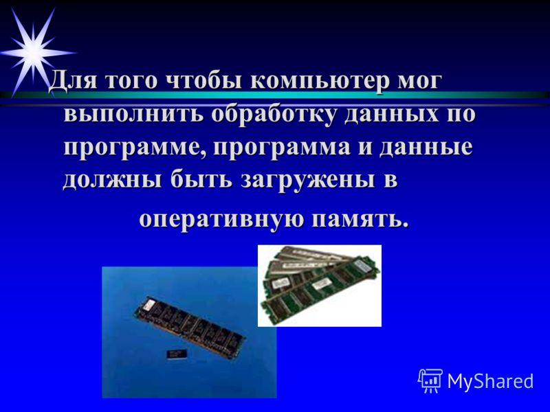 Для того чтобы компьютер мог выполнить обработку данных по программе, программа и данные должны быть загружены в Для того чтобы компьютер мог выполнить обработку данных по программе, программа и данные должны быть загружены в оперативную память. опер