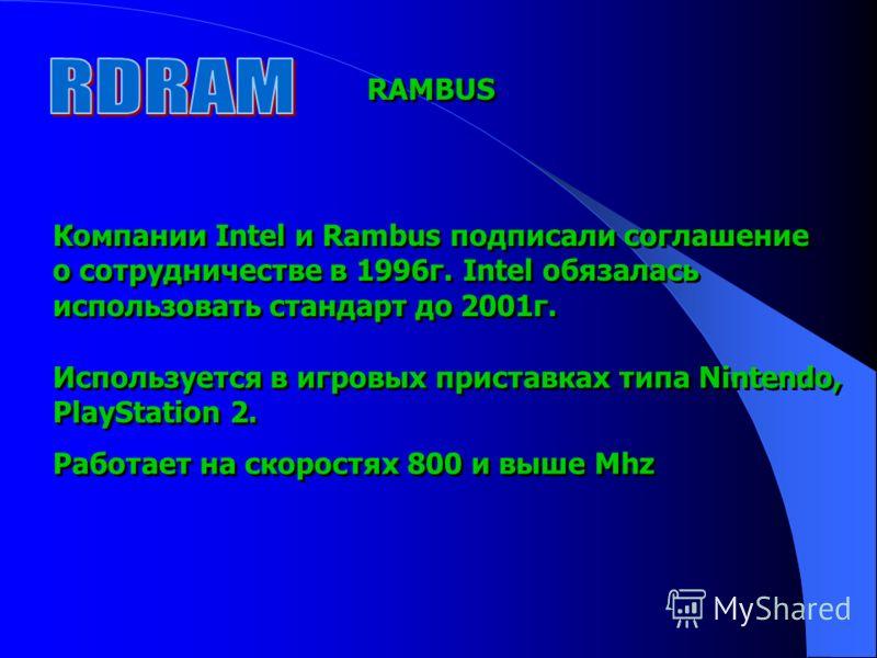 RAMBUS Компании Intel и Rambus подписали соглашение о сотрудничестве в 1996г. Intel обязалась использовать стандарт до 2001г. Компании Intel и Rambus подписали соглашение о сотрудничестве в 1996г. Intel обязалась использовать стандарт до 2001г. Испол