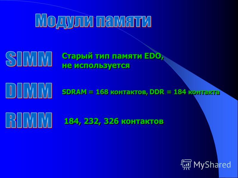 Старый тип памяти EDO, не используется Старый тип памяти EDO, не используется SDRAM = 168 контактов, DDR = 184 контакта 184, 232, 326 контактов
