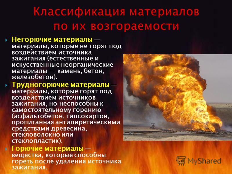 Негорючие материалы материалы, которые не горят под воздействием источника зажигания (естественные и искусственные неорганические материалы камень, бетон, железобетон). Трудногорючие материалы материалы, которые горят под воздействием источников зажи