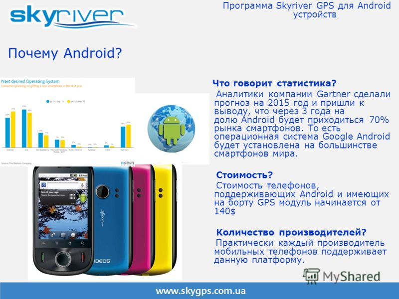Почему Android? Что говорит статистика? Аналитики компании Gartner сделали прогноз на 2015 год и пришли к выводу, что через 3 года на долю Android будет приходиться 70% рынка смартфонов. То есть операционная система Google Android будет установлена н
