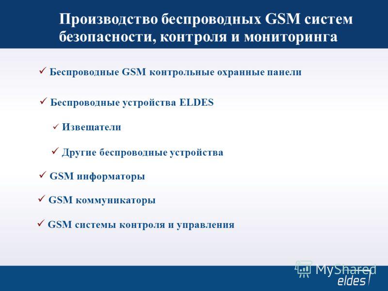 Производство беспроводных GSM систем безопасности, контроля и мониторинга Беспроводные GSM контрольные охранные панели GSM системы контроля и управления GSM информаторы Беспроводные устройства ELDES Извещатели Другие беспроводные устройства GSM комму