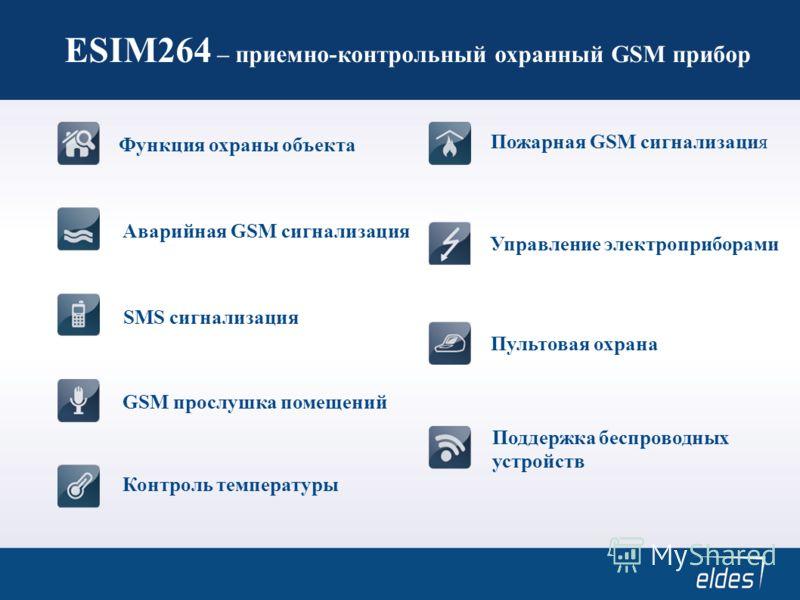 ESIM264 – приемно-контрольный охранный GSM прибор Функция охраны объекта Аварийная GSM сигнализация SMS сигнализация GSM прослушка помещений Контроль температуры Пожарная GSM сигнализация Управление электроприборами Пультовая охрана Поддержка беспров