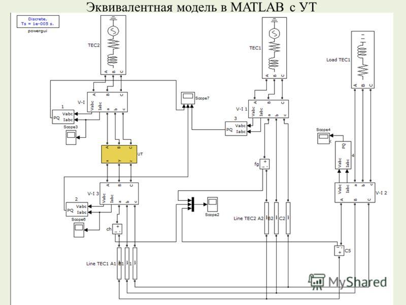 Эквивалентная модель в MATLAB с УТ