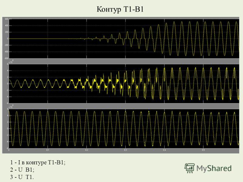 Контур Т1-В1 1 - I в контуре Т1-В1; 2 - U В1; 3 - U Т1.