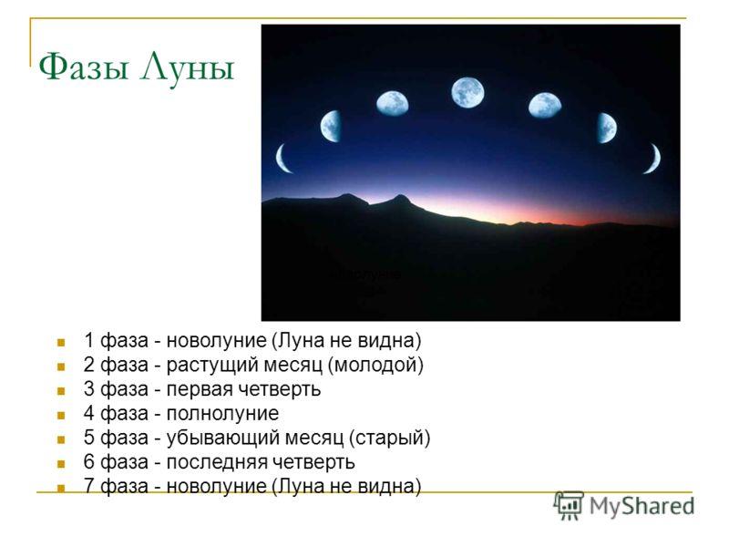 Фазы Луны 1 фаза - новолуние (Луна не видна) 2 фаза - растущий месяц (молодой) 3 фаза - первая четверть 4 фаза - полнолуние 5 фаза - убывающий месяц (старый) 6 фаза - последняя четверть 7 фаза - новолуние (Луна не видна) новолуние
