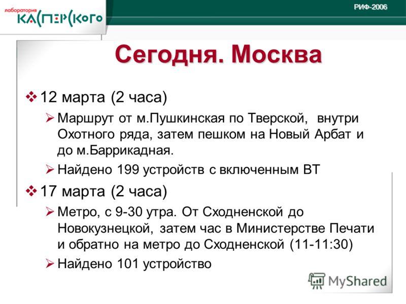 Kaspersky Labs 6 ht Annual Partner Conference · Turkey, June 2-6 2004 Kaspersky Labs 6 th Annual Partner Conference · Turkey, 2-6 June 2004РИФ-2006 Сегодня. Москва 12 марта (2 часа) Маршрут от м.Пушкинская по Тверской, внутри Охотного ряда, затем пеш