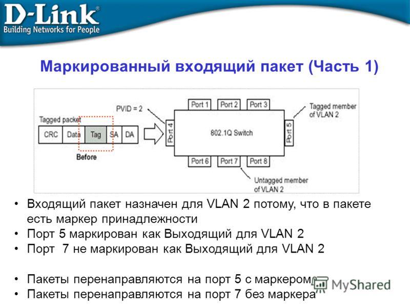 Маркированный входящий пакет (Часть 1) Входящий пакет назначен для VLAN 2 потому, что в пакете есть маркер принадлежности Порт 5 маркирован как Выходящий для VLAN 2 Порт 7 не маркирован как Выходящий для VLAN 2 Пакеты перенаправляются на порт 5 с мар