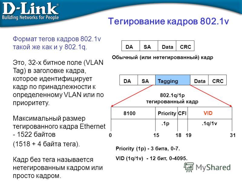 Тегирование кадров 802.1v Формат тегов кадров 802.1v такой же как и у 802.1q. Это, 32-х битное поле (VLAN Tag) в заголовке кадра, которое идентифицирует кадр по принадлежности к определенному VLAN или по приоритету. Максимальный размер тегированного