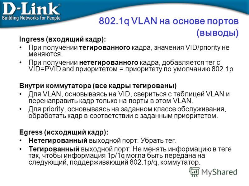 802.1q VLAN на основе портов (выводы) Ingress (входящий кадр): При получении тегированного кадра, значения VID/priority не меняются. При получении нетегированного кадра, добавляется тег с VID=PVID and приоритетом = приоритету по умолчанию 802.1p Внут