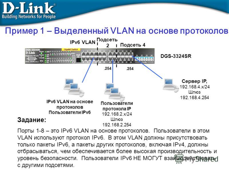 Задание: Порты 1-8 – это IPv6 VLAN на основе протоколов. Пользователи в этом VLAN используют протокол IPv6. В этом VLAN должны присутствовать только пакеты IPv6, а пакеты других протоколов, включая IPv4, должны отбрасываться, чем обеспечивается более