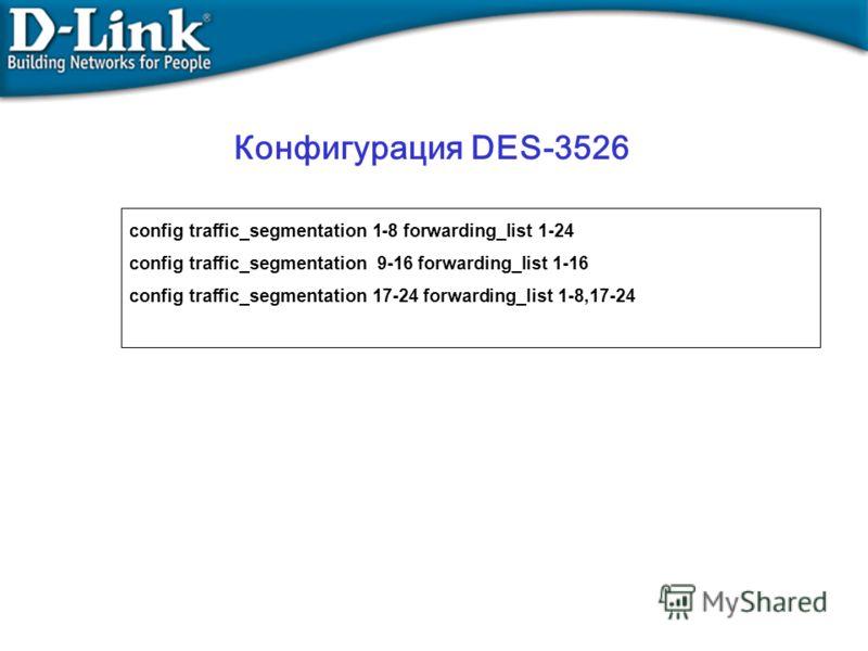 config traffic_segmentation 1-8 forwarding_list 1-24 config traffic_segmentation 9-16 forwarding_list 1-16 config traffic_segmentation 17-24 forwarding_list 1-8,17-24 Конфигурация DES-3526