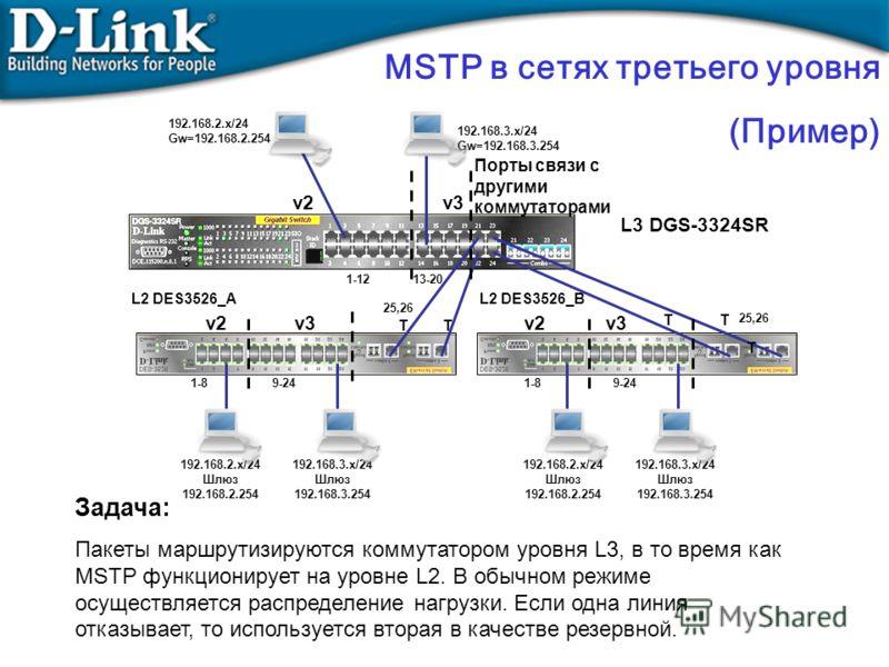 Задача: Пакеты маршрутизируются коммутатором уровня L3, в то время как MSTP функционирует на уровне L2. В обычном режиме осуществляется распределение нагрузки. Если одна линия отказывает, то используется вторая в качестве резервной. MSTP в сетях трет
