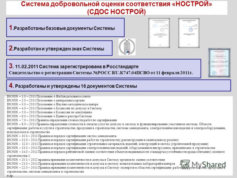 1.Разработаны базовые документы Системы 3. 11.02.2011 Система зарегистрирована в Росстандарте Свидетельство о регистрации Системы РОСС RU.К747.04ПСВО от 11 февраля 2011г. 4. Разработаны и утверждены 16 документов Системы DS.NOS – 1.0 – 2011 Положение