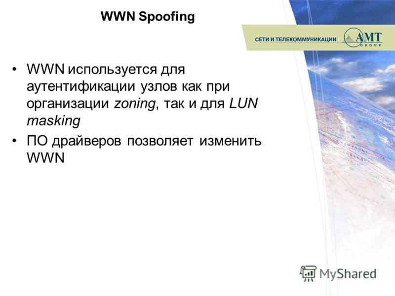 WWN Spoofing WWN используется для аутентификации узлов как при организации zoning, так и для LUN masking ПО драйверов позволяет изменить WWN